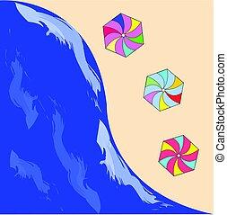夏, -, 砂, ベクトル, 海, 浜, 傘