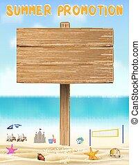 夏, 砂, 木, 板, 海, 昇進, 浜