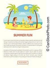 夏, 砂, 楽しみ, 作成, 城浜, 子供