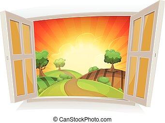 夏, 窓, 開いた, 風景, 田園