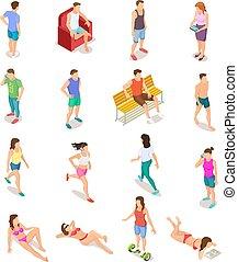 夏, 等大, セット, 特徴, 人々, 入浴, ティーネージャー, clothes., 隔離された, suit., ベクトル, 人間, 3d