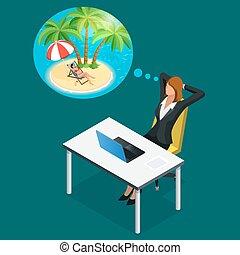 夏, 等大, 女, オフィス, work., 残り, 労働者, travel., イラスト, 休暇, ビジネス, ∥あるいは∥, 仕事場, 夢を見ること, 壊れなさい, について, 浜, 時間, 夢