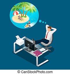 夏, 等大, 浜。, オフィス, work., 平ら, 残り, 労働者, travel., イラスト, 休暇, 壊れなさい, ∥あるいは∥, ビジネスマン, 仕事場, 約 夢を見ること, 時間, 夢, 人