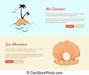 夏, 網, 島, 冒険, 暑い, 海, 旗