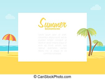 夏, 背景, スペース, テキスト, イラスト, トロピカル, ベクトル, 海, 浜