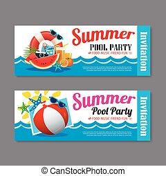 夏, 背景, テンプレート, 招待, パーティー, 切符, プール