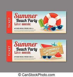 夏, 背景, テンプレート, 招待, パーティー, 切符, 浜
