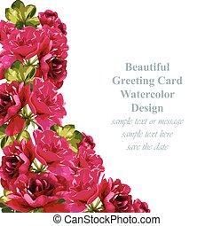 夏, 自然, card., 春, ばら, デリケートである, vector., 新たに, 構成, カード, 赤