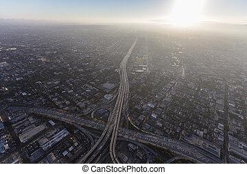 夏, 航空写真, 高速道路, los, スモッグ, アンジェルという名前の人たち