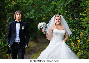 夏, 花婿, 花嫁, 屋外で, 結婚式, 幸せ