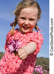 夏, 花, ギフトの 提供, 幸せ, 子供