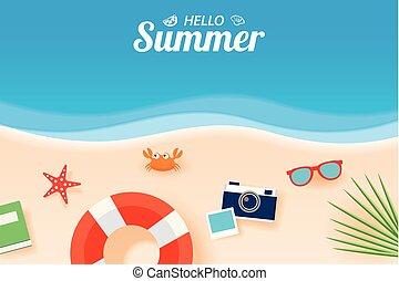 夏, 芸術, 浜の 休暇, バックグラウンド。, ペーパー, 旗, こんにちは, カード