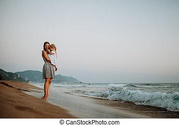 夏, 若い, holiday., 母, 女の子, よちよち歩きの子, 浜