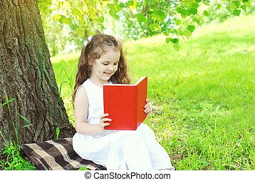 夏, 草, 公園, 本, 子供, 読書, 幸せ