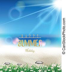 夏, 草, 浜, 背景