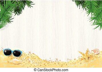 夏, 葉, 抽象的, 砂, 木, 背景, ブランク, 白