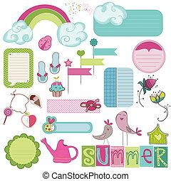 夏, 要素, カード, デザイン, スクラップブック, 招待