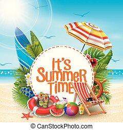 夏, 要素, テキスト, 時間, 砂, デザイン, 背景, ∥それ∥, 白い浜, 旗, 円