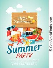 夏, 要素, 木製である, ポスター, 印, a4, 背景, 招待, パーティー, size., 浜