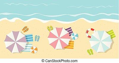 夏, 観光客, 上, 休日, 浜, 光景
