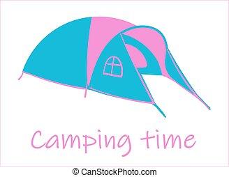 夏, 観光客, camp., 隔離された, バックグラウンド。, 白, テント