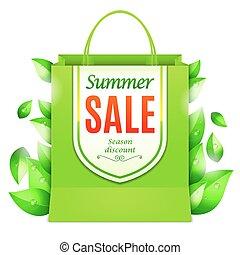夏, 買い物, セール, 袋