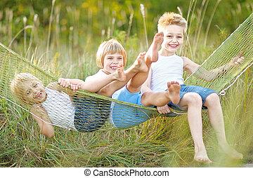 夏, 遊び, 子供, 牧草地, 3