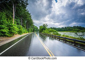 夏, 雷雨, 後で, massabesic, londonderry, 湖, hampshire., ターンパイク,...