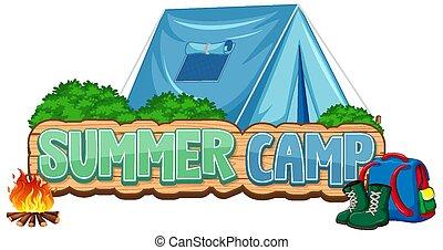 夏, 青い背景, 壷, デザイン, キャンプ, 単語, テント