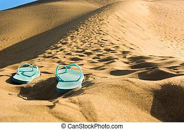 夏, 靴, 上に, 砂 砂丘