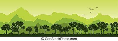 夏, 風景, 木, 山