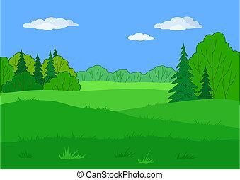 夏, 風景, 森林, 林間の空き地