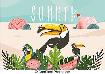 夏, 鳥, グラフィック, 活版印刷, 葉, 浜, キャンプ, 隔離された, ベクトル, 手, 株, テント, トロピカル, 海洋, 引かれる, 抽象的, 青, イラスト, 背景, 風景