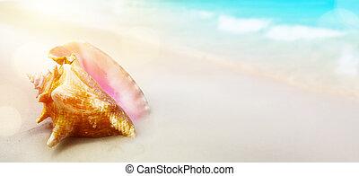 夏, beach;, 休暇, トロピカル, 背景, 平和である