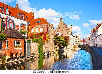 夏, city., 中世, クラシック, bruges., fairytale, チャネル, belgium., 景色...