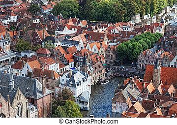 夏, city., 中世, クラシック, bruges., fairytale, belgium., 都市, 光景