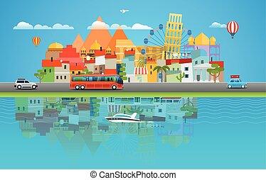 夏, concept., イラスト, ベクトル, アジア, 都市の景観, 旅行する, 旅行