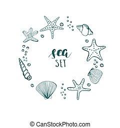 夏, corals., 貝殻, frame., 背景, ベクトル, 星, 円, 海