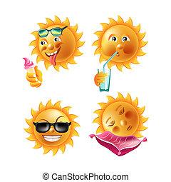 夏, emoticons, 微笑, 太陽, 漫画, expressions., 顔, 幸せ, ∥あるいは∥, emoji
