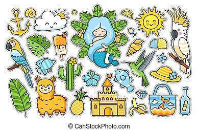 夏, fish, colibri, 大きい, ステッカー, mermaid, トロピカル, 砂, ラマ, sun., pack., ハチドリ, オウム, 城