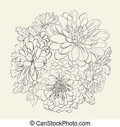 夏, flowers., 美しい, 花輪