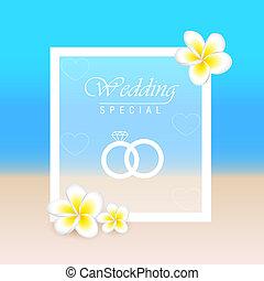 夏, frangipani, 結婚式の招待, 花, 浜, カード