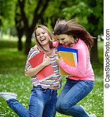 夏, happines, 生徒, 公園, 跳躍, 幸せ