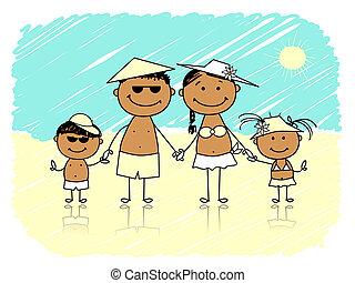 夏, holidays., 浜, 家族, 幸せ