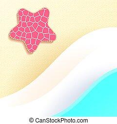夏, illustration., ヒトデ, 砂, ベクトル, 海, 波, 浜