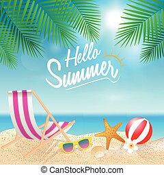 夏, illustration., 季節, 休暇, バックグラウンド。, ベクトル, weekend., 休日, こんにちは