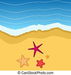 夏, illustration., sand., ベクトル, 背景, 時間, 失敗
