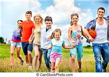夏, outdoor., グループ, 人々