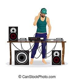 夏, party:, dj, そして, 彼の, 装置, ダンス, music., セット, の, loudspea