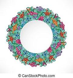 夏, pattern., フレーム, -, starfish., wreath., sea-horse., 海, shell.